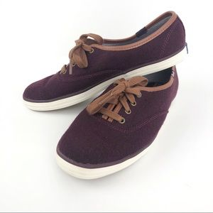 KEDS Champion Burgundy Wool Lace-Up Sneakers 7.5